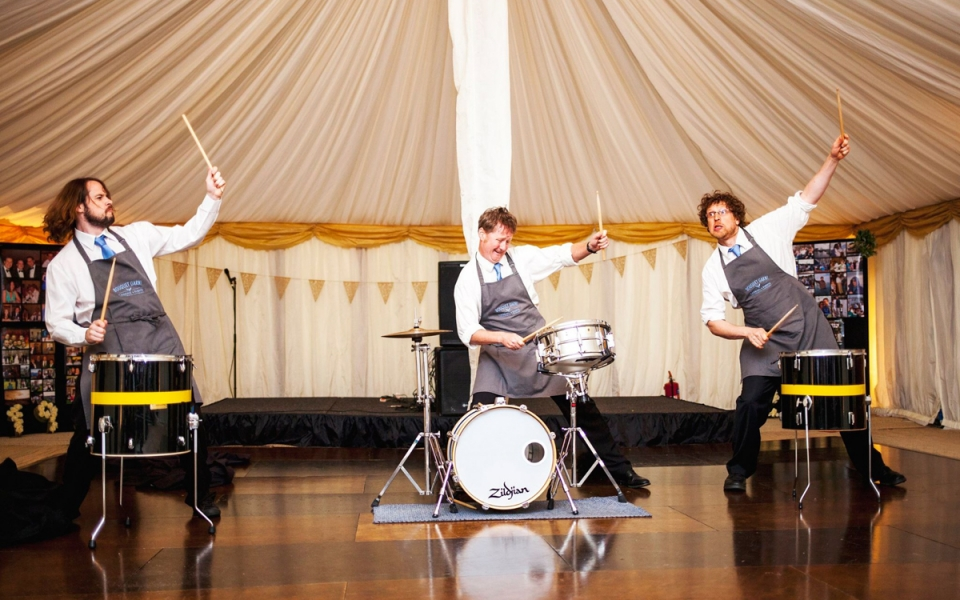 Drum Waiters in a Marquee